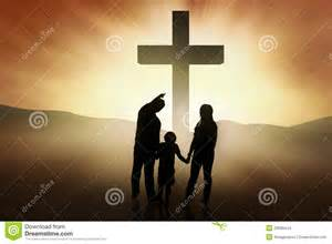 christian family standing at the cross stock images image 29096444