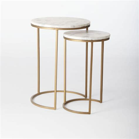 antique brass side table round nesting side tables set marble antique brass