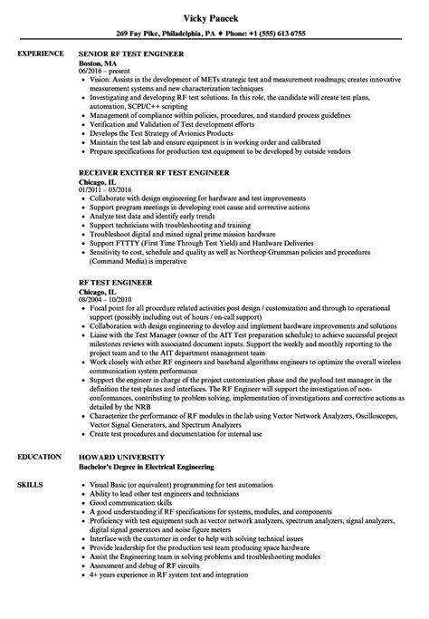 rf test engineer resume samples velvet jobs