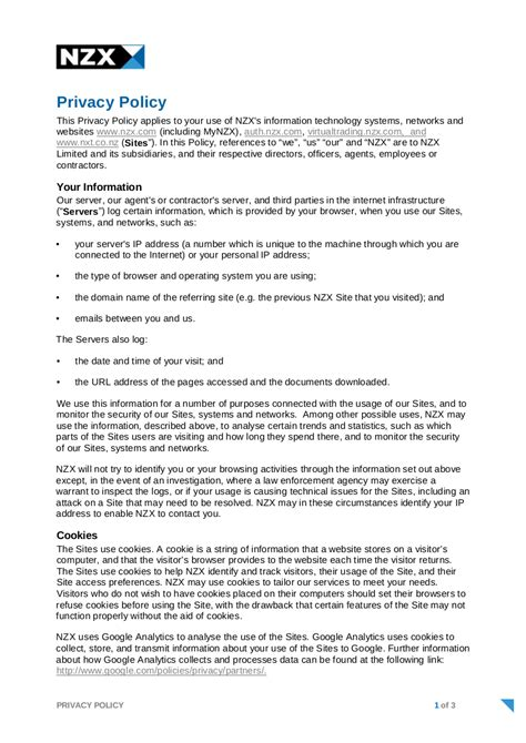 Free Privacy Policy Examples Pdf Google Docs