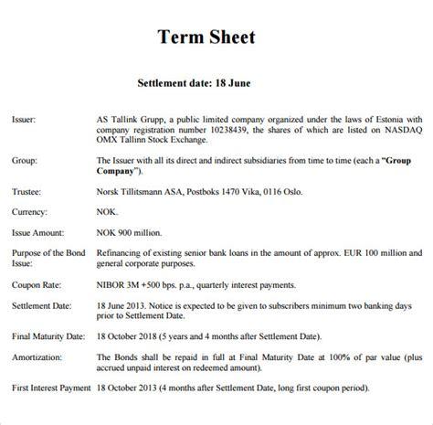 sample term sheet templates  google docs