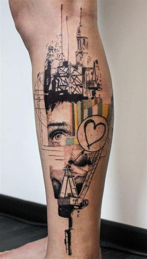 tattoo motive architektur collage abstrakt geboeude auge