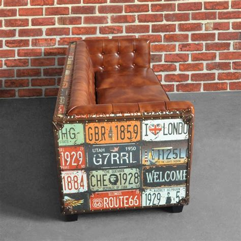 vintage industrial loft  seater sofa tufted brown faux leather upholstered sofa sofas