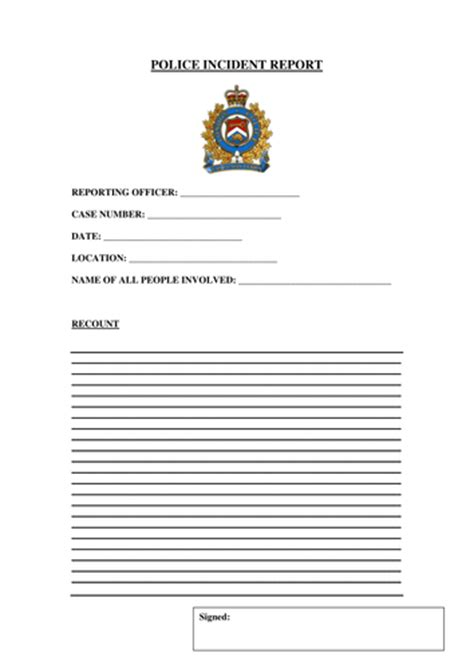 police incident report form  gibboanseo teaching