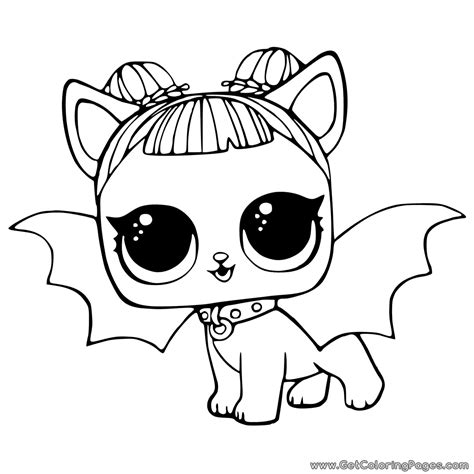 lol pets coloring pages cute midnight pup  devil wings