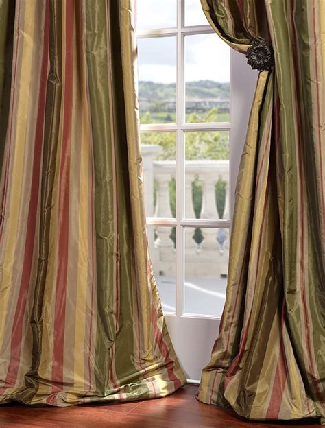 pacific heights designer silk taffeta stripe curtains drapes - Silk Striped Drapes
