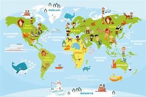 Weltkarte Kontinente Kinder : drucke plakate weltkarte tierwelt f r kinder 30 cm x 45 cm ein designerst ck von ~ A.2002-acura-tl-radio.info Haus und Dekorationen