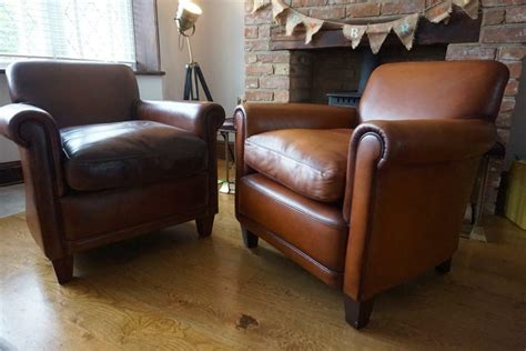 Laura Ashley Pair Of Burlington Leather Armchairs