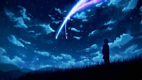 Anime Night Scenery Wallpaper Night Sky Scenery Clouds Stars Anime Wallpaper 12449