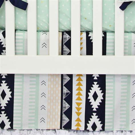 Aztec Crib Bedding aztec gold and mint crib bedding set by caden