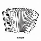 Accordion Musical Instruments Coloring Vector Children Dreamstime sketch template