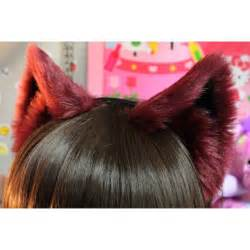 cat ears burgundy cat ears realistic cat pattern no front fluffs