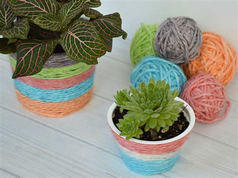 kool aid dyed yarn recycled plant pot hometalk