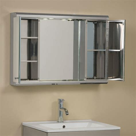 Lighted Bathroom Cabinets With Mirrors by Illumine Dual Stainless Steel Medicine Cabinet With