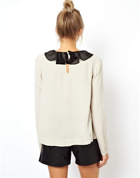 swing blouses lyst asos swing blouse with contrast sheer ruffle collar