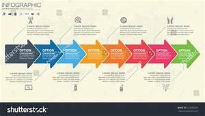 Timeline Infographics Template Arrows Flowchart Workflow