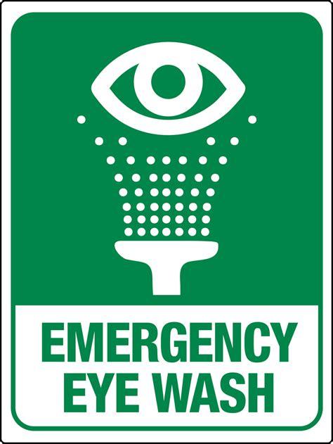 71 × 30 × 23 cm. Emergency Eye Wash Station Wall Sign