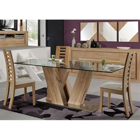 season glass top 6 seater dining table with season chairs 20