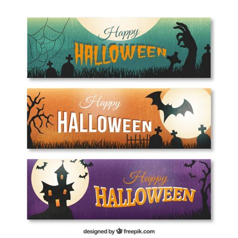 Browse our halloween banner images, graphics, and designs from +79.322 free vectors graphics. Happy halloween banners | Free Vector