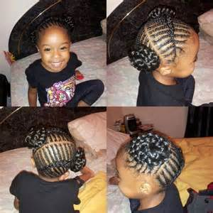 Kids Corn Rows into Two Buns Hair Style