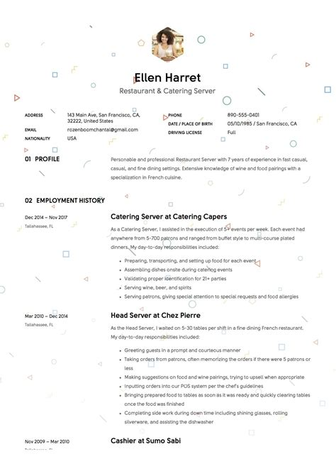 Restaurant Server Resume Template by Restaurant Server Resume Sle Template Exle Cv