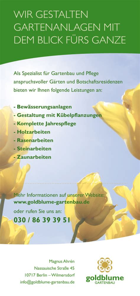 Garten Und Landschaftsbau Berlin Wilmersdorf by Angebote Goldblume Gartenbau Berlin