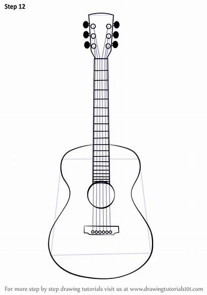 Guitar Draw Acoustic Sketch Drawing Drawings Step