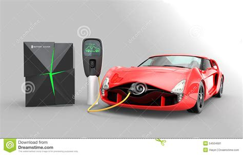 Electric Car Charging In Ev Charging Station. Stock Image