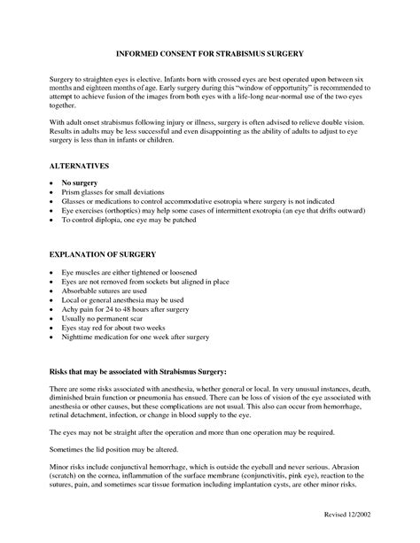 Surgery Consent Form Template by Best Photos Of Informed Consent Form For Surgery Surgery