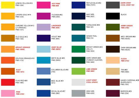color standards ink chart