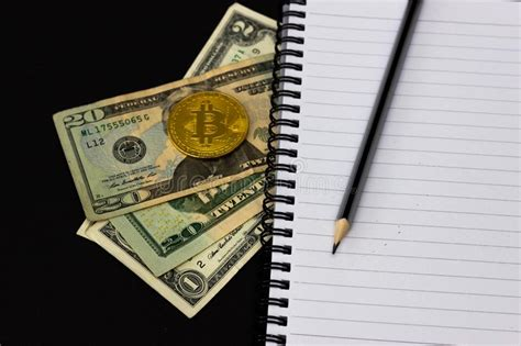 See bitcoin at a price. Mess On Your Desktop. Calculator, Notebook, Documents, Bitcoin, USD, Paper Money, Office ...