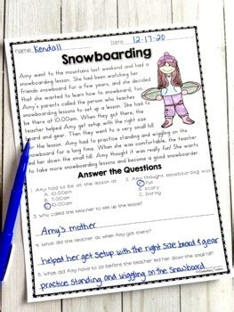 reading comprehension passages  january  pages