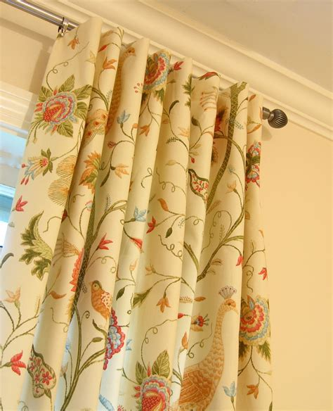 yellow floral drapes 2 50 x 93 window panel drapes peacock bird floral fabric