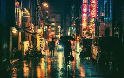 Japanese Japan Night Street Wallpapers Lights Cityscape
