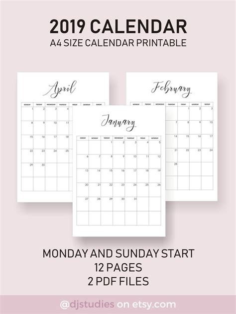 calendar aesthetic calendar simple layout perfect