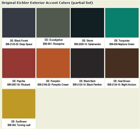 Original Eichler Paint Colors For Your Ranch Or