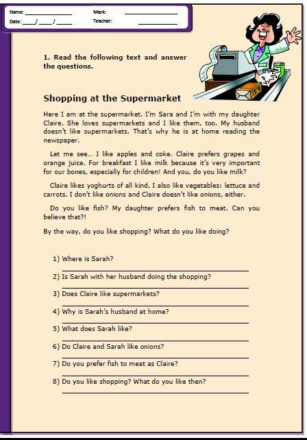 shopping   supermarket reading comprehension worksheet