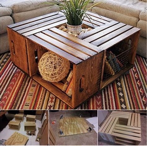 diy coffee table  recycled wine crates beesdiycom