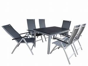 Gartenmöbel Alu Set : ubud alu gartenm bel set sitzgarnitur 7 teilig silber schwarz gartenm bel gruppen garten ~ Eleganceandgraceweddings.com Haus und Dekorationen