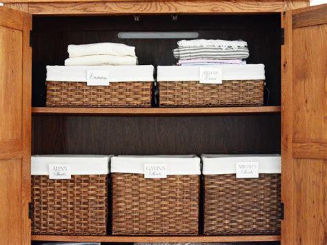 Linen Closet Baskets by Organizing A Linen Closet Hgtv