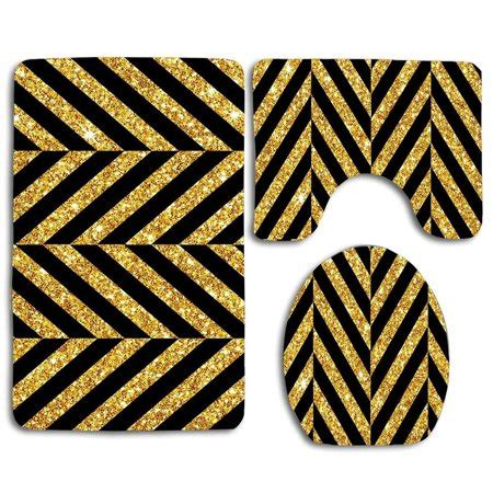 gohao black  gold  piece bathroom rugs set bath rug
