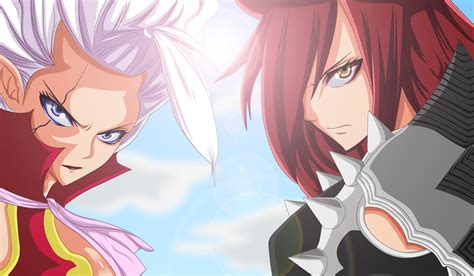 hd fairy tail erza scarlet mirajane strauss face anime