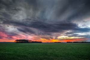 Free, Photo, Storm, Clouds, Over, Field, During, Sunset, -, Clouds, Sunset, Sunrise, -, Free, Download