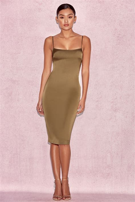 foto de Clothing : Bodycon Dresses : 'Mischa' Khaki Fitted Satin