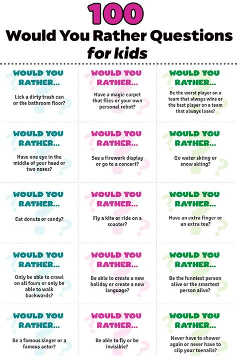 100 Would You Rather Questions For Kids  The Best Ideas