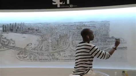 stephen wiltshire draws singapore skyline  memory