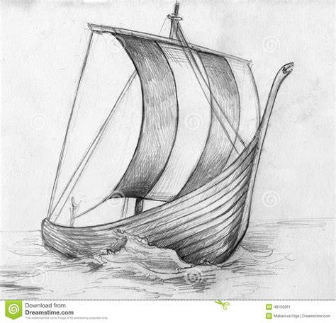 Sketch Of A Viking Ship Drakkar Stock Illustration