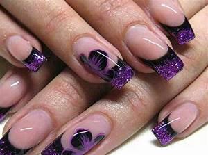 French nails-purple flower design   Flower Nail Art Design ...