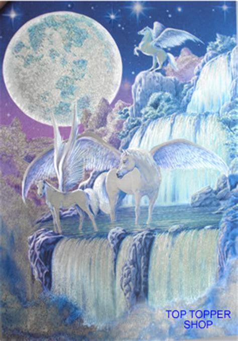 dufex unicorn pegasus waterfall postcard print