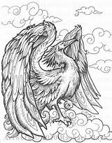 Phoenix Coloring Pages Deviantart Adults Bird Adult Rachaelm5 Drawing Dragon Bw Dragons Colouring Fantasy Pyrography Printable Sheets Zentangle Creatures Fairy sketch template